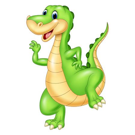character cartoon: illustration of Cartoon green dinosaur