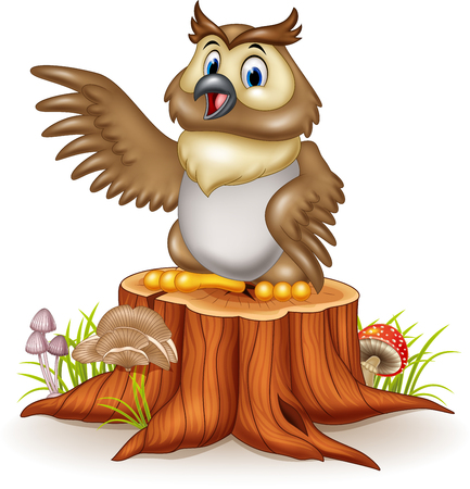 illustration of Cartoon owl waving his wings standing on the tree stump
