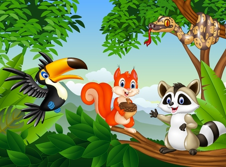 illustration of Cartoon forest scene with different animals Illustration