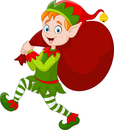 illustration of Cartoon Christmas elf carrying a bag of present 일러스트