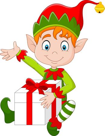 illustration of Cartoon Elf holding gift box