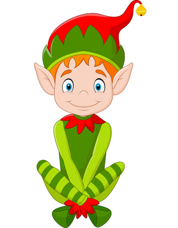 christmas cartoon: illustration of Cartoon happy Christmas elf sitting Illustration