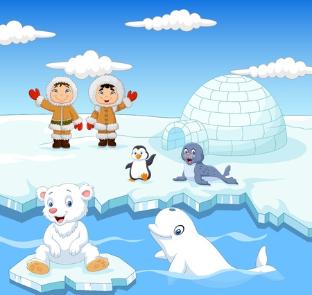 gesturing: illustration of Little Eskimo kids with arctic animals and igloo house
