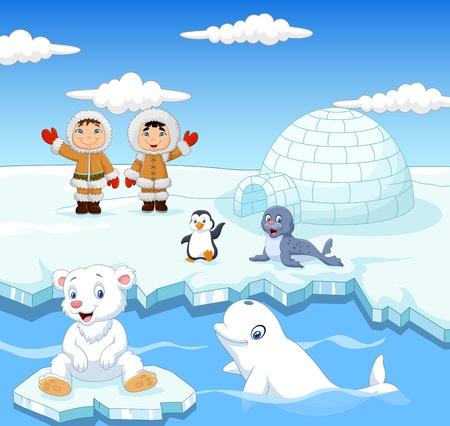 illustration of Little Eskimo kids with arctic animals and igloo house