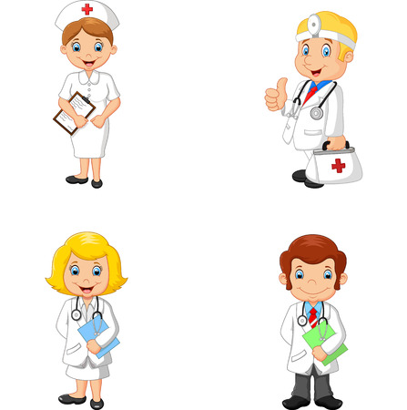 illustration of Cartoon doctors and nurses Vector Illustration