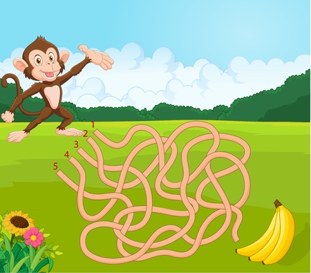 illustration of Maze game for kids with monkey and banana