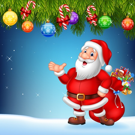 saint nicholas: illustration of Christmas background with Santa Claus presenting