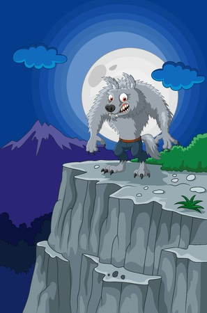 rampage: illustration of Cartoon werewolf with full moon