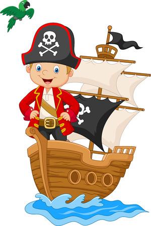 illustration of Cartoon little pirate on his ship