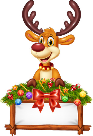 illustration of Cartoon reindeer with decorated banner