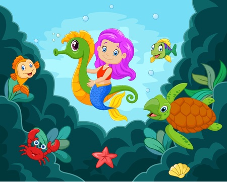 illustration of Cartoon little mermaid playing with seahorse