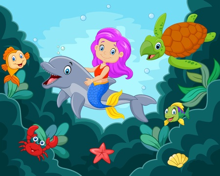 illustration of Cartoon little mermaid playing with dolphin