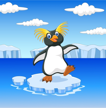 illustration of Happy cartoon penguin rockhopper standing on ice floe Illustration