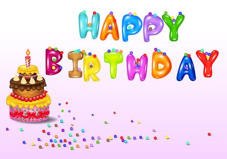 illustration of Birthday card with birthday cake Illustration