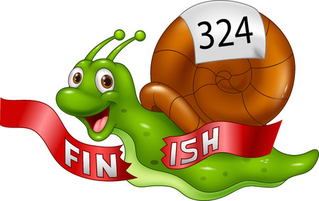metaphor: illustration of Cartoon snail crosses the finish line alone as winner