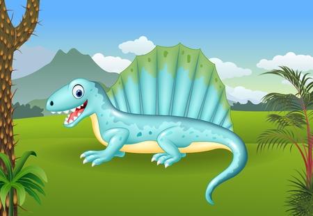 illustration of Prehistoric background with dinosaur