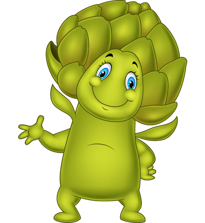illustration of Cartoon artichoke waving hand