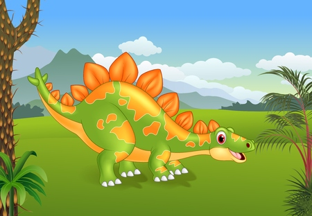 stegosaurus: illustration of Cartoon cute stegosaurus posing with the prehistoric background Vectores