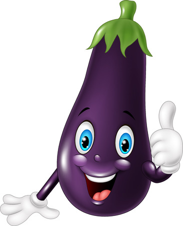 illustration of Cartoon eggplant giving thumb up