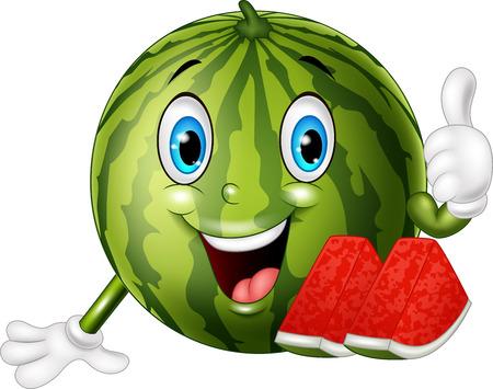 illustration of Cartoon watermelon giving thumbs up Illustration