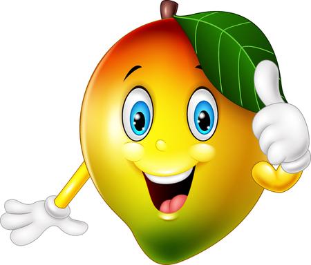 Ilustración de dibujos animados de mango hasta que los pulgares Foto de archivo - 69076220