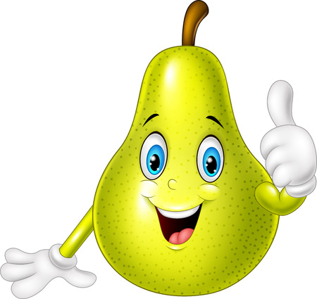 thumbsup: illustration of Cartoon pear giving thumbs up