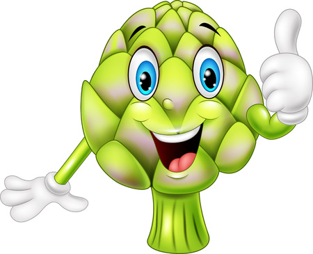 thumbsup: illustration of Cartoon artichoke giving thumbs up Illustration