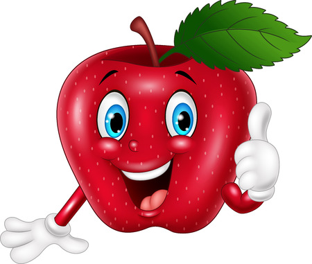 thumbsup: illustration of Cartoon red apple giving thumbs up Illustration