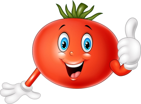 thumbsup: illustration of Cartoon tomato giving thumbs up Illustration