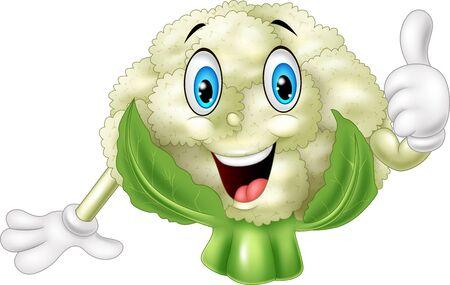 illustration of Cartoon cauliflower giving thumbs up