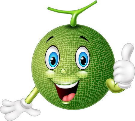 illustration of Cartoon melon giving thumb up