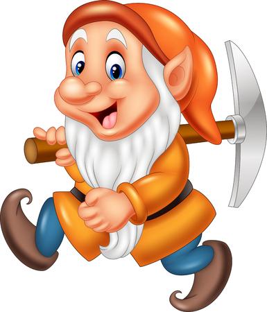 illustration of Cartoon dwarf miner 일러스트