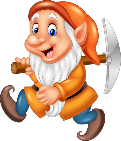 illustration of Cartoon dwarf miner Çizim