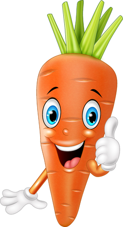 thumbsup: illustration of Cartoon carrot giving thumbs up Illustration