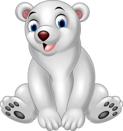 illustration of Cartoon polar bear sitting