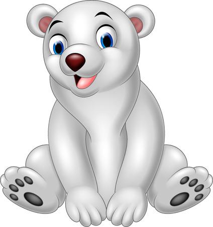 illustration of Cartoon polar bear sitting