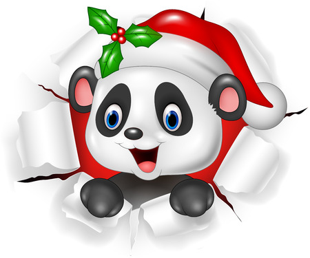 illustration of Cartoon baby panda bear ripping through the background