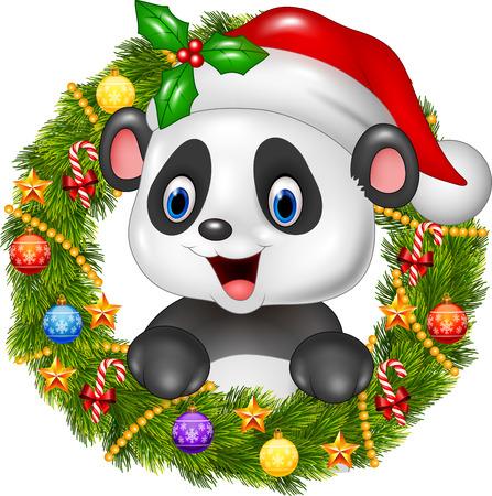 happy christmas: illustration of Christmas wreath with happy panda bear Illustration