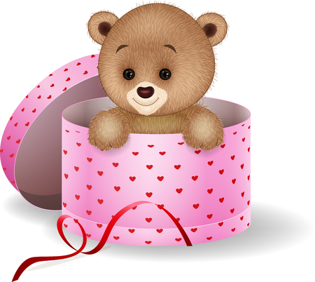 illustration of Cartoon teddy bear in the gift box Illustration
