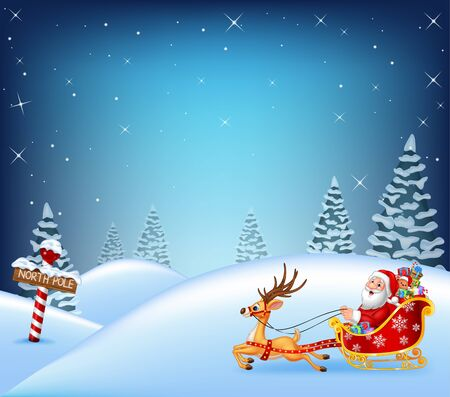 pulled: illustration of Happy Santa in his sled pulled by reindeer