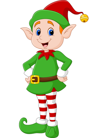 green cute: illustration of Cute green elf posing. isolated on white background