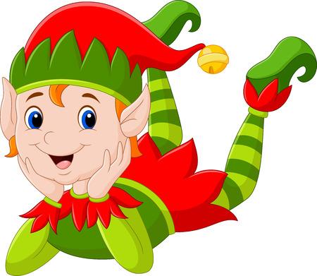 illustration of Cartoon elf girl laying on the floor