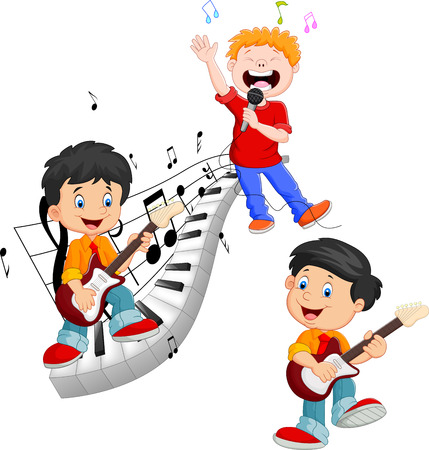 happy kids cartoon: Cartoon happy kids singing and playing music