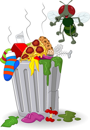 unhygienic: illustration of Cartoon trash can and fly