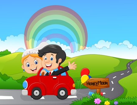 illustration of Just married couple driving a car in honeymoon trip Illustration