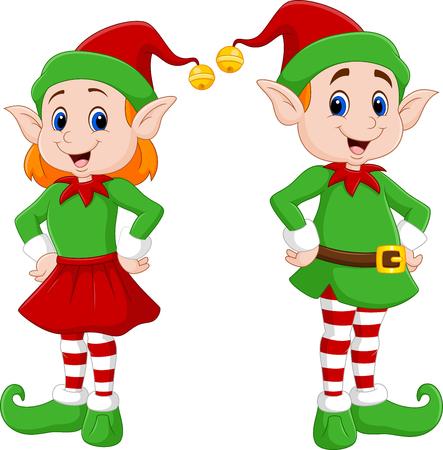 illustration of Cartoon of a happy Christmas elf couple  イラスト・ベクター素材