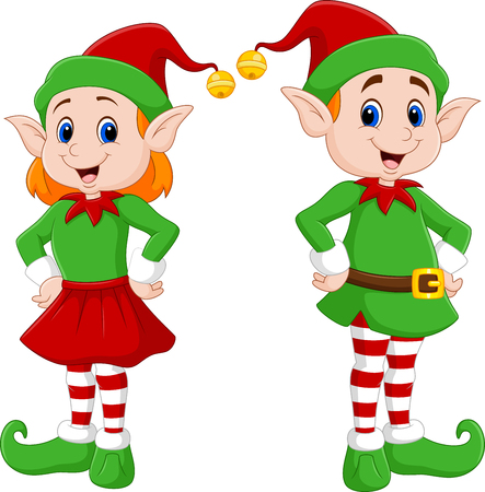 illustration of Cartoon of a happy Christmas elf couple Vettoriali