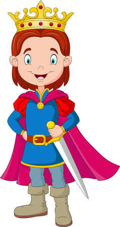 illustration of Cartoon boy wearing prince costume Illustration