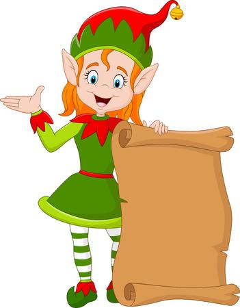 illustration of Cartoon Christmas elf girl holding old paper scroll