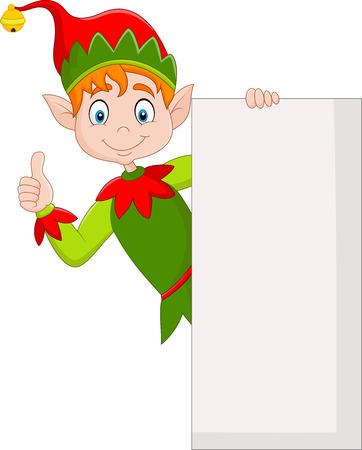 Ilustración de lindo duende verde con cartel en blanco y dando pulgares arriba